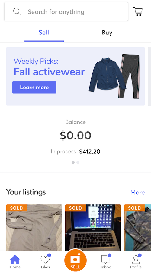 Mercari Review - Home Page