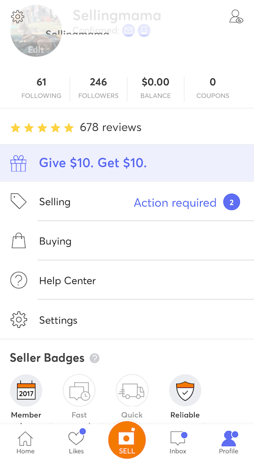 mercari review seller profile