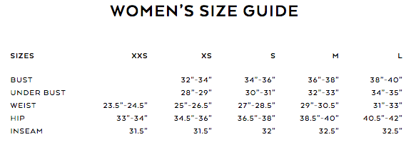 alo yoga size guide