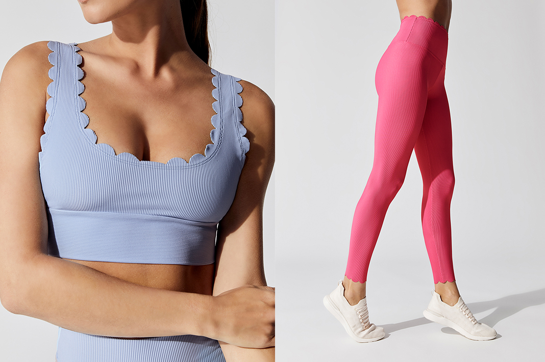 beach riot scallop hem activewear leggings sports bra crop top