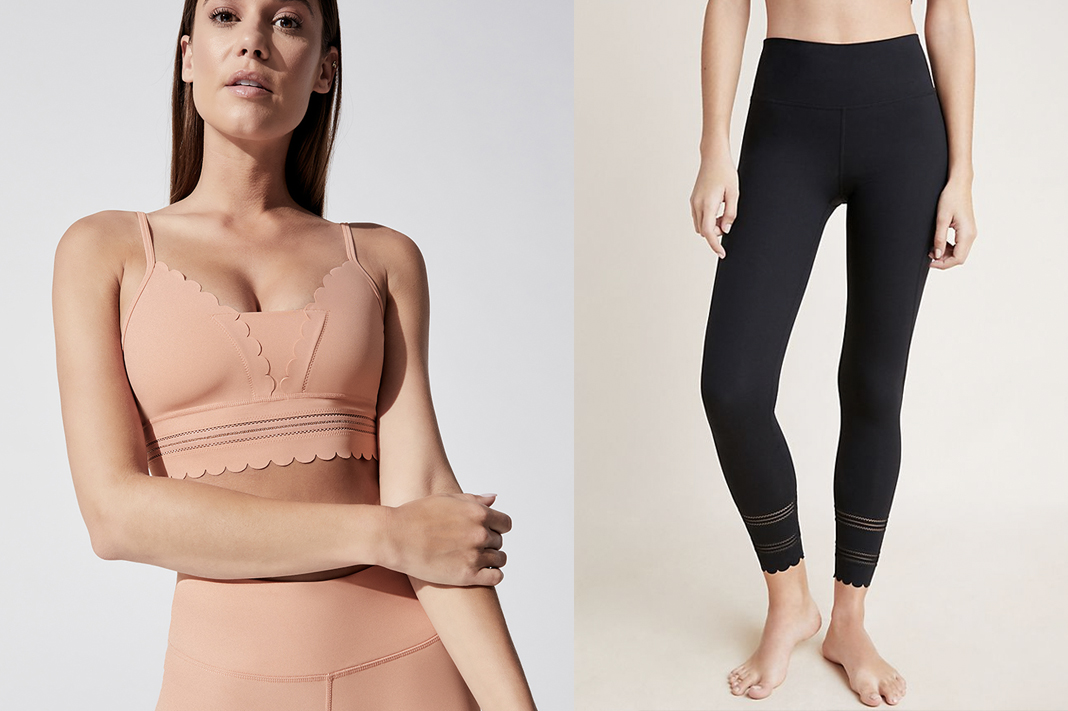 free people fp movement genesis sports bra and leggings scallop hem style