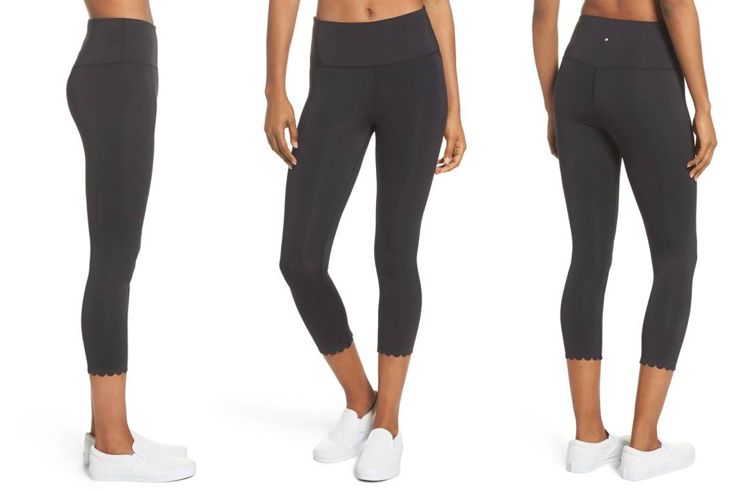 kate spade new york activewear scallop detail crop leggings