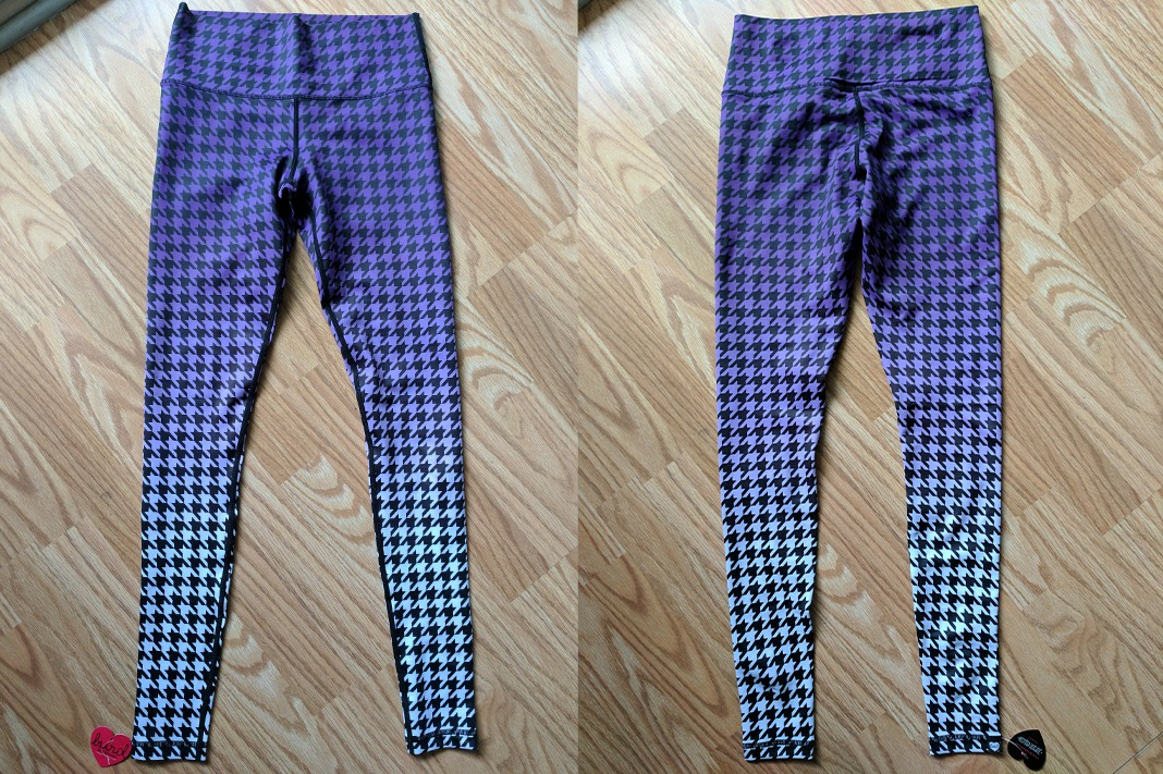 burd activewear houndstooth ombre purple leggings front back