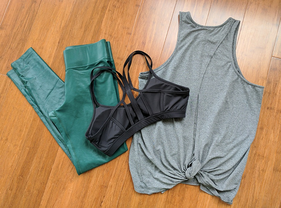 Left to Right: Takara Leggings, Catalyst Bra and Rally Tank - all by Carbon38