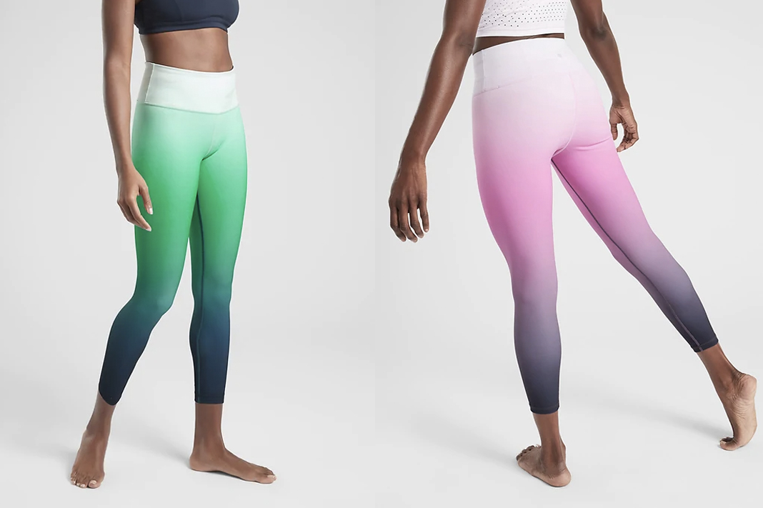 best ombre leggings athleta elation ombre green pink purple tight