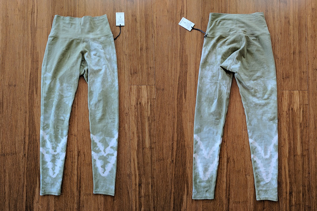 electric and rose sunset green leggings front back