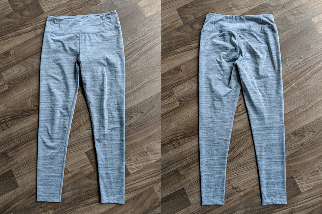 manduka review essential long leggings heathered grey front back