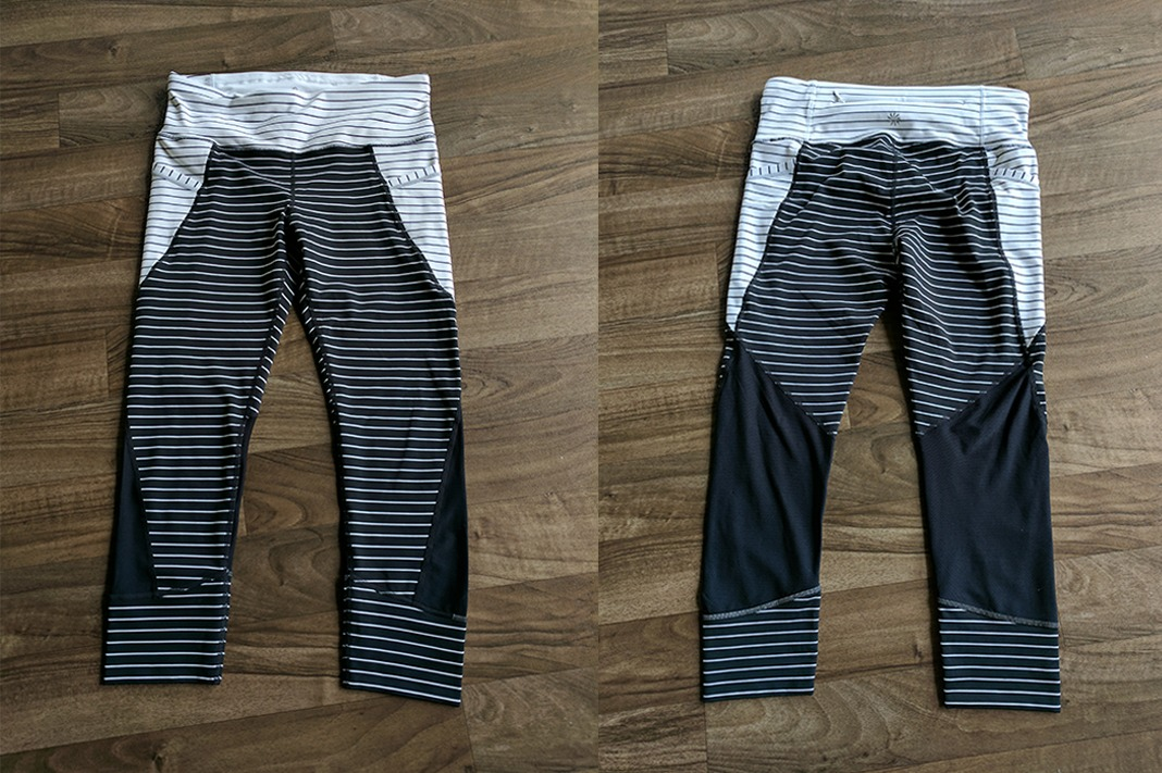 athleta relay stripe crop leggings front back