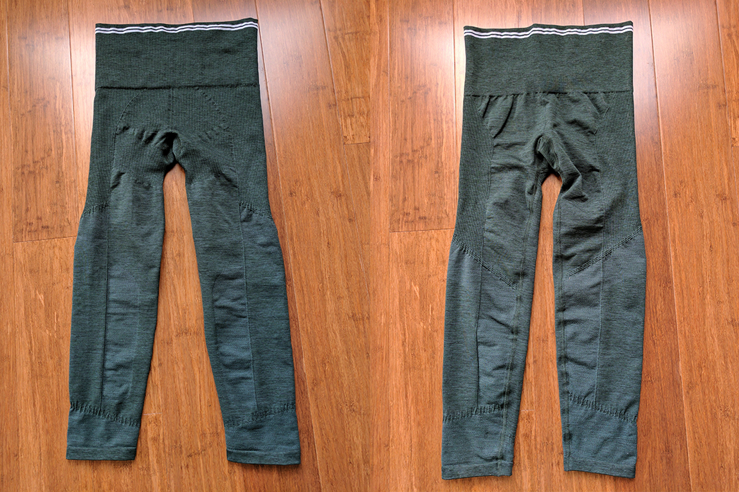 LNDR Seven eight leggings front back dark green marl