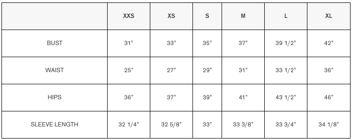 mackage size chart inches
