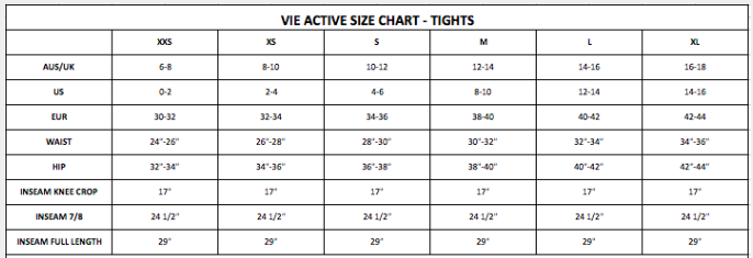 vie active size chart bottoms tights