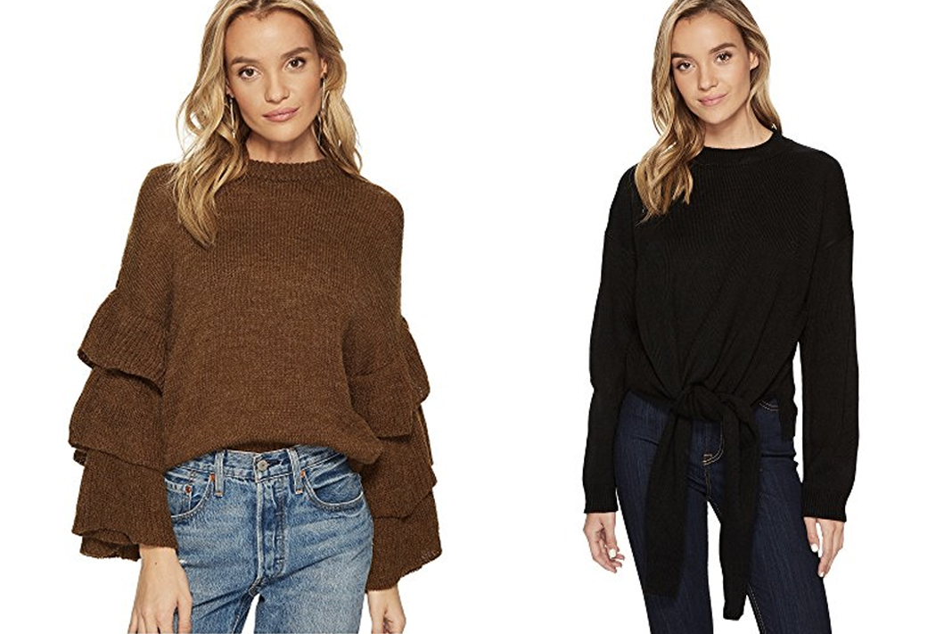 J.O.A. ruffle sleeve and tie front Sweater