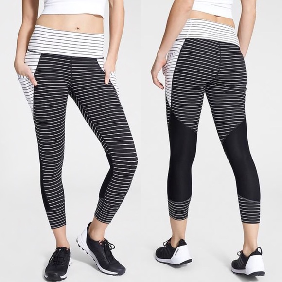 athleta stripe blocked relay 2.0 crop leggings