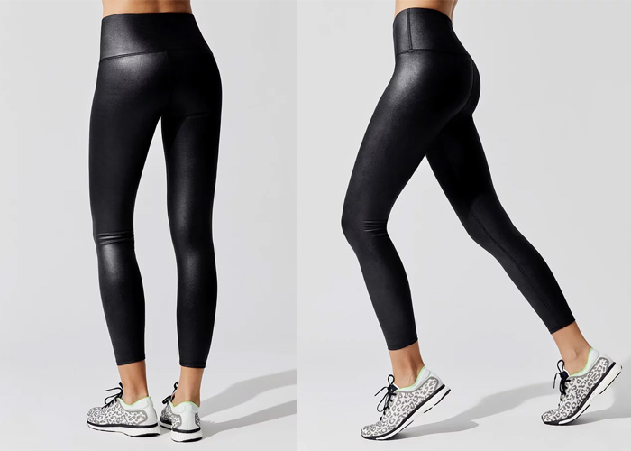 carbon38 flash high rise leggings liquid leather tights