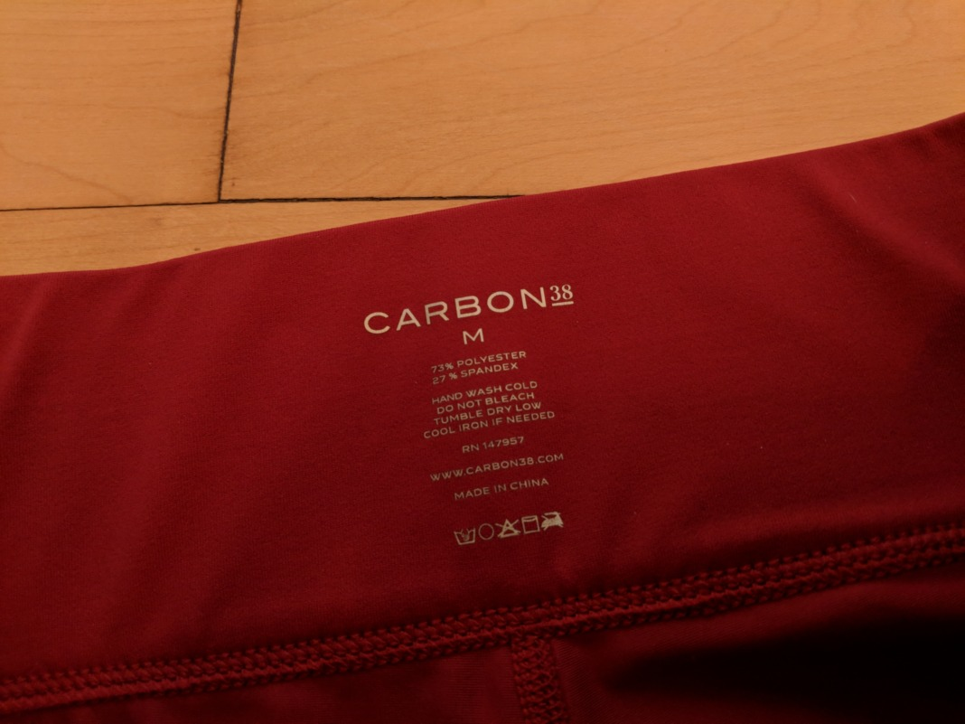 Carbon38 Sayang Collection Tanjung Leggings label details