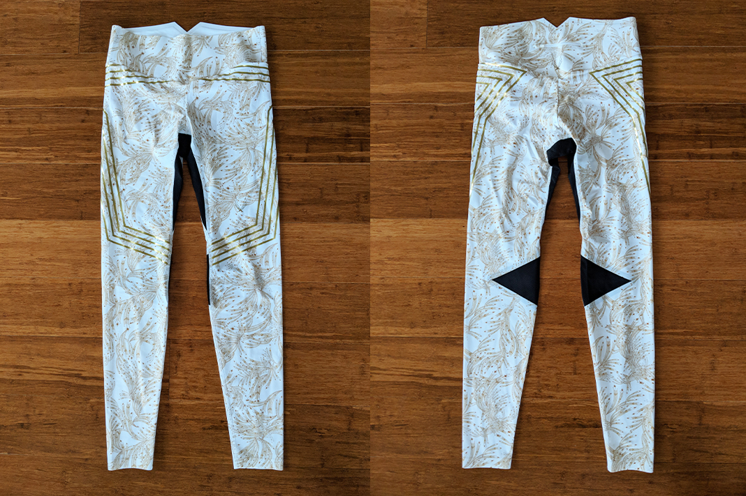 lucas high review goldleaf foil print leggings front back