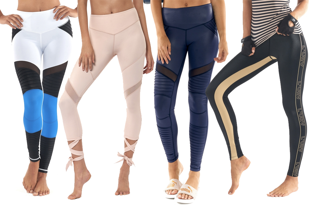 L'URV Activewear Leggings (left to right): Shake Your Booty, Attention Please, Fever Pitch Moto, Energise Mea