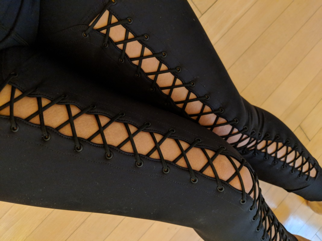 Carbon38 Jonathan Simkhai collection - Lace Up Corset Leggings - Lace U Detail