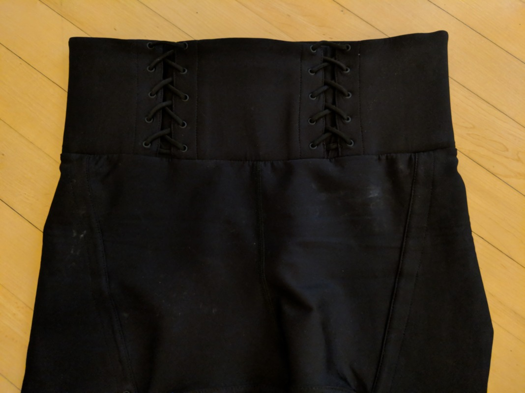 Carbon38 Jonathan Simkhai collection - Lace Up Corset Leggings - Waistband (front)