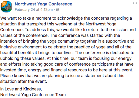 northwest yoga conference statement regarding savitri being kicked out