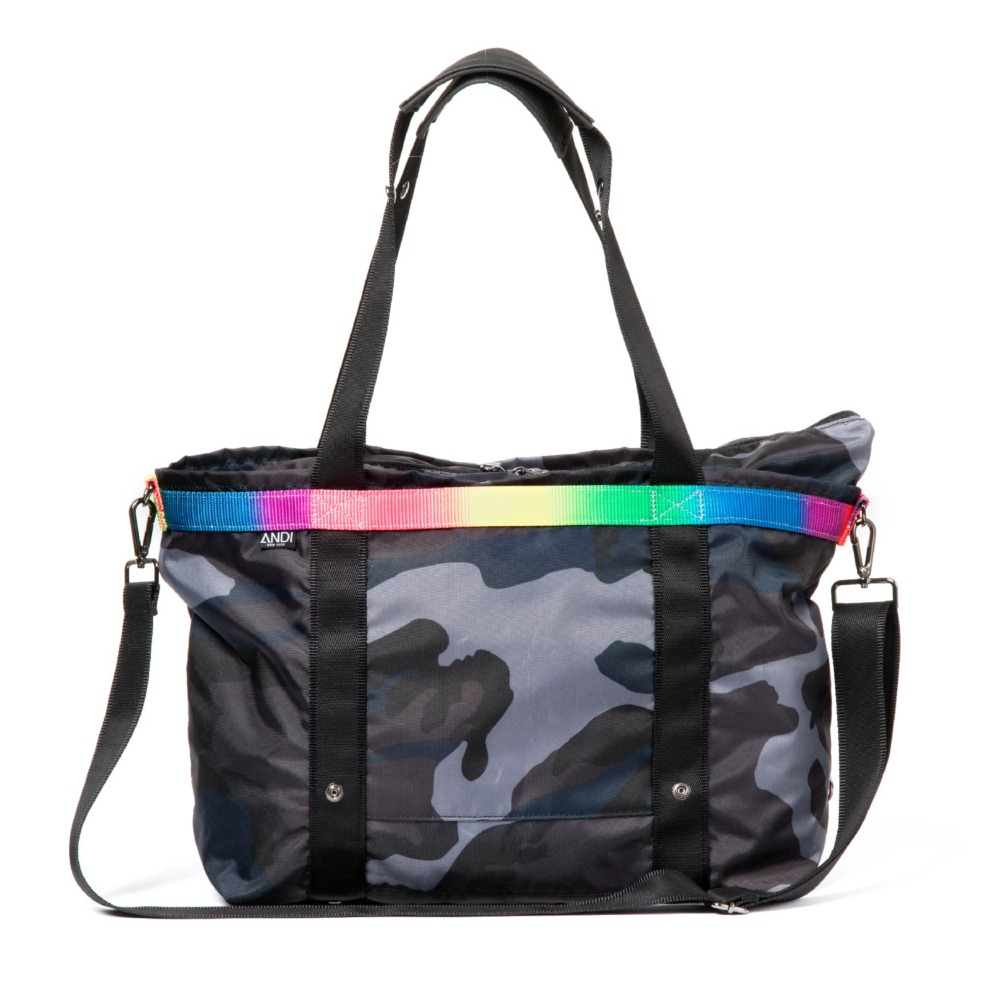 ANDI signature bag ink camo colorchrome rainbow duffle