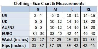 fit rebel seni size chart