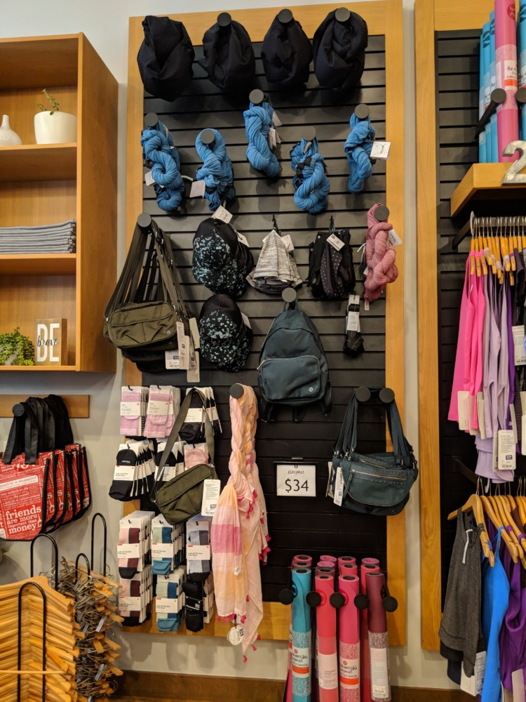lululemon Outlet Orlando Florida womens accessory wall
