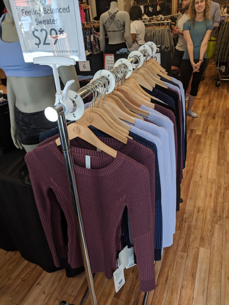 lululemon Outlet Orlando Florida daily deal sweaters
