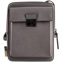 burberry london shaldon leather crossbody bag grey silver front