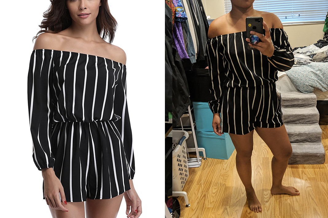 miss moly striped black white romper off shoulder schimiggy reviews