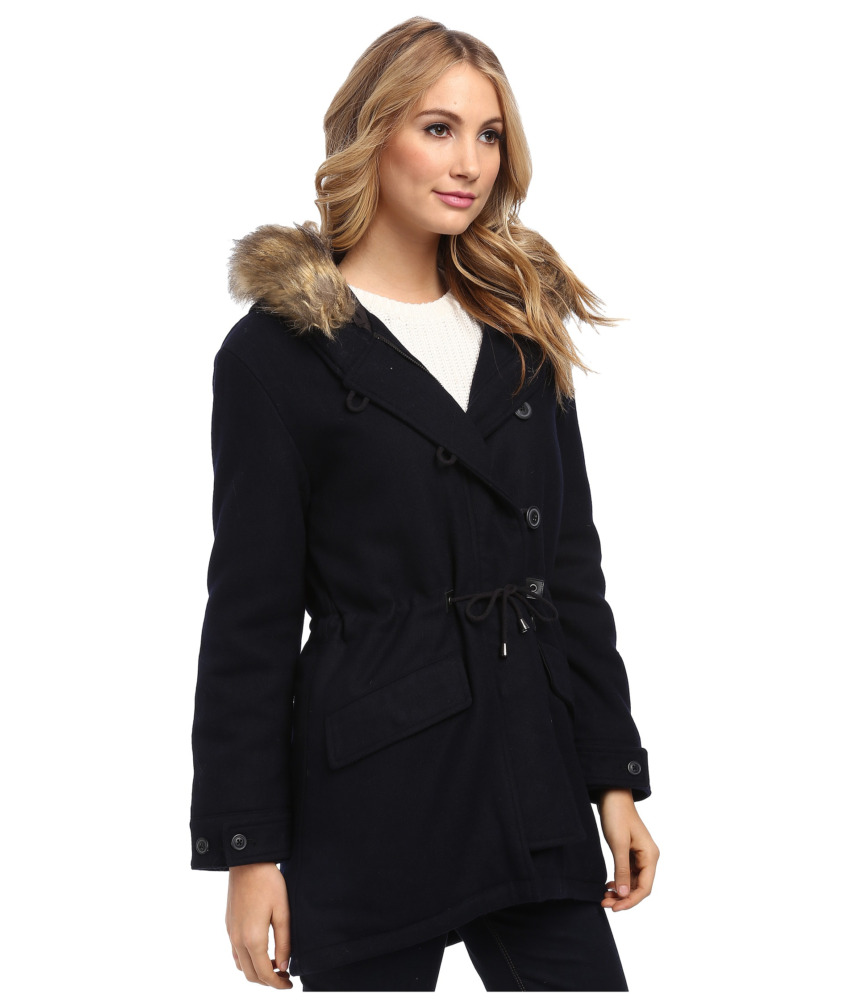 spiewak and sons fishtail wool fur trim jacket front