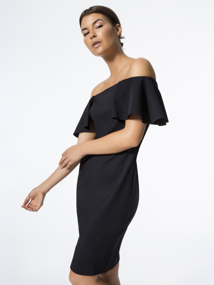 carbon38 los angeles off shoulder dress black front