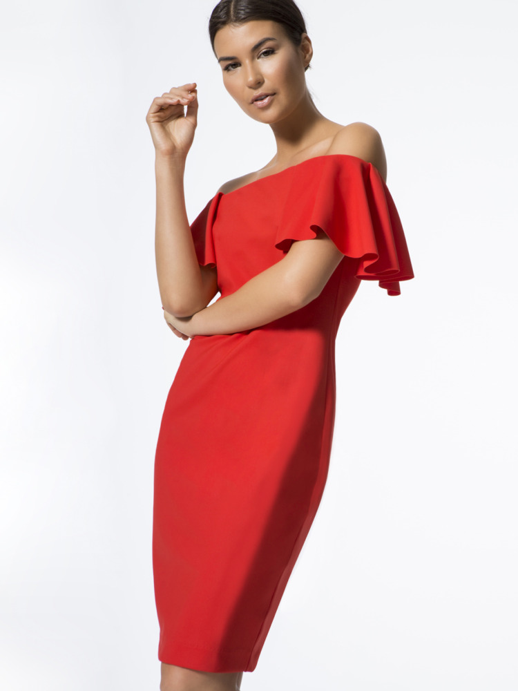 carbon38 los angeles off shoulder dress red side