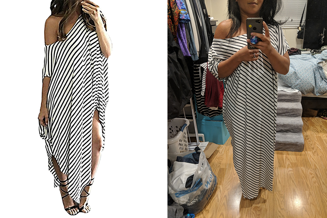 kidsform striped off shoulder asymmetrical maxi dress