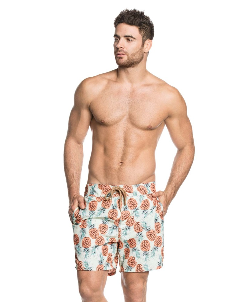 maaji swim trunk mens pineapple print front