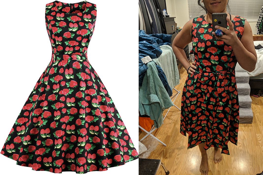 zaful strawberry retro dress 50s schimiggy reviews