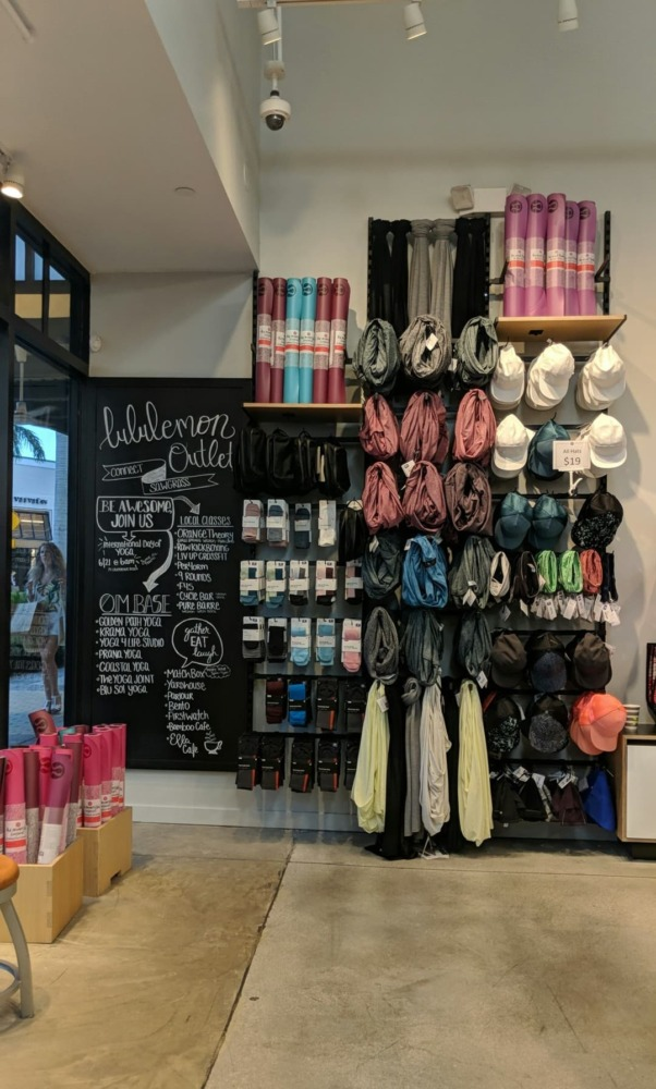 lululemon outlet accessory wall and yoga mats