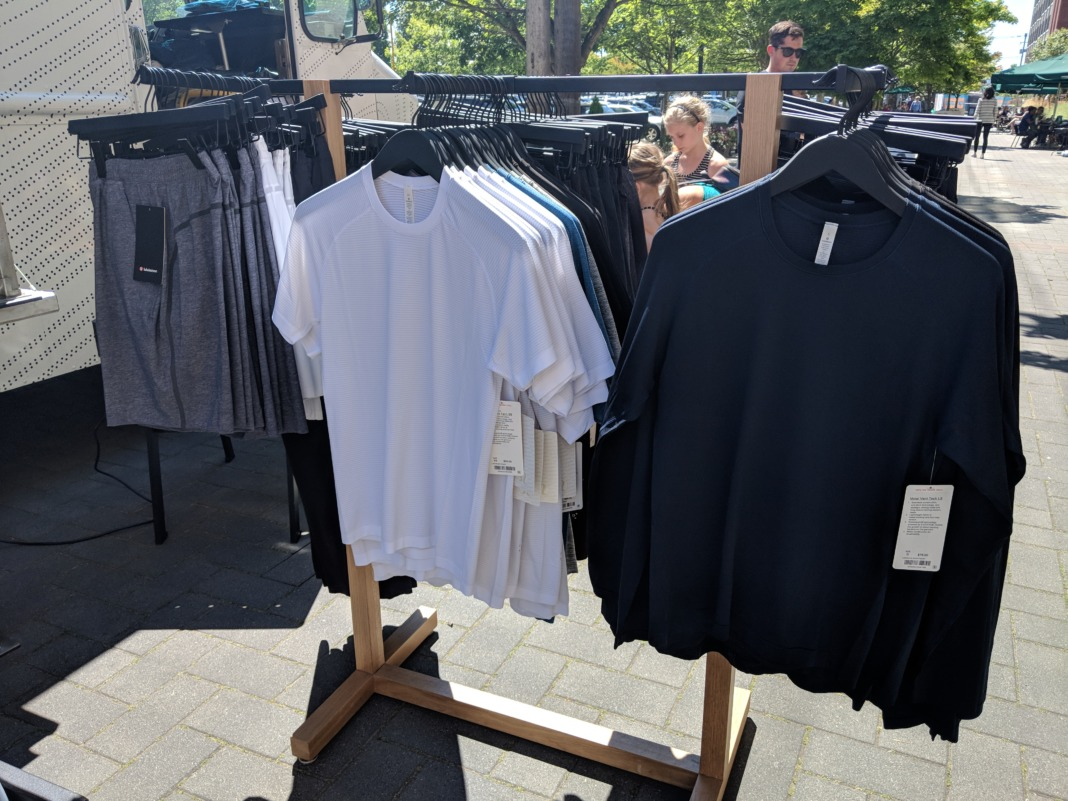lululemon truck retail store mens racks outdoors