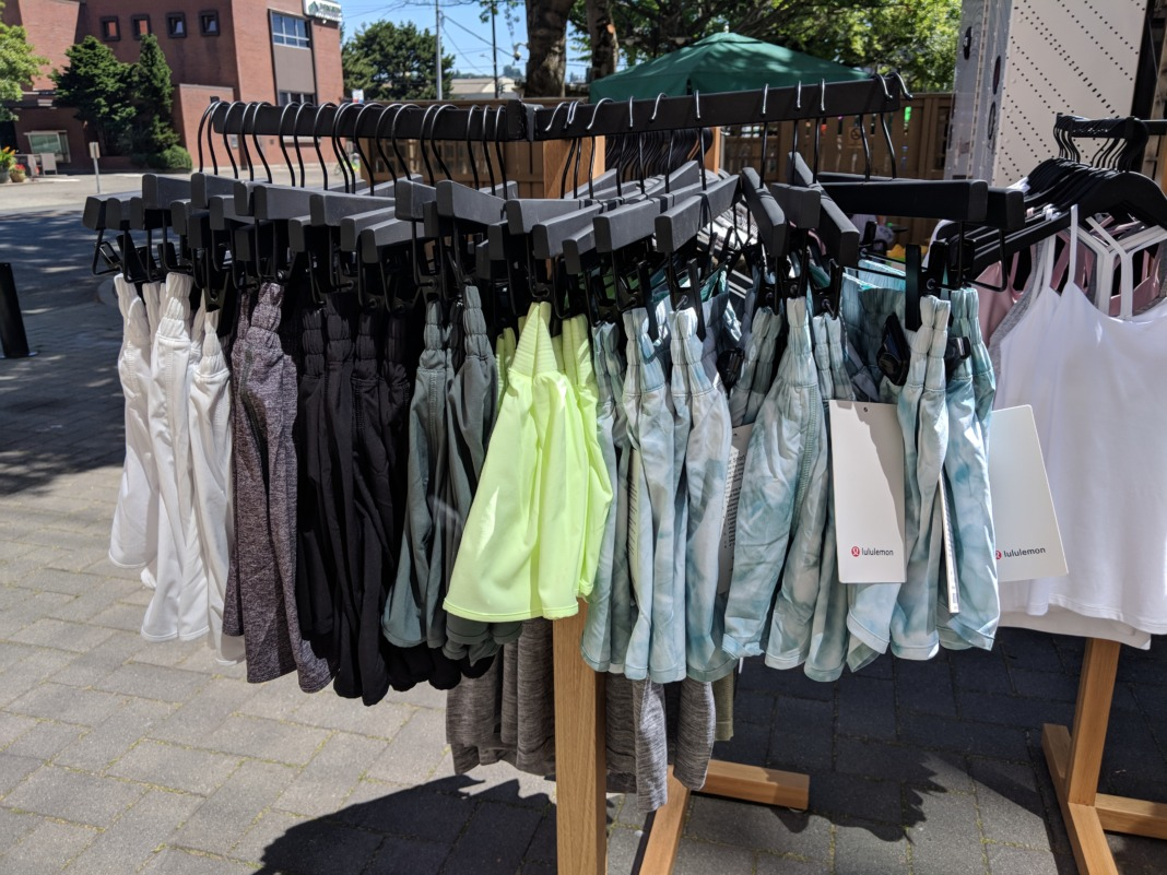 lululemon truck retail store shorts rack
