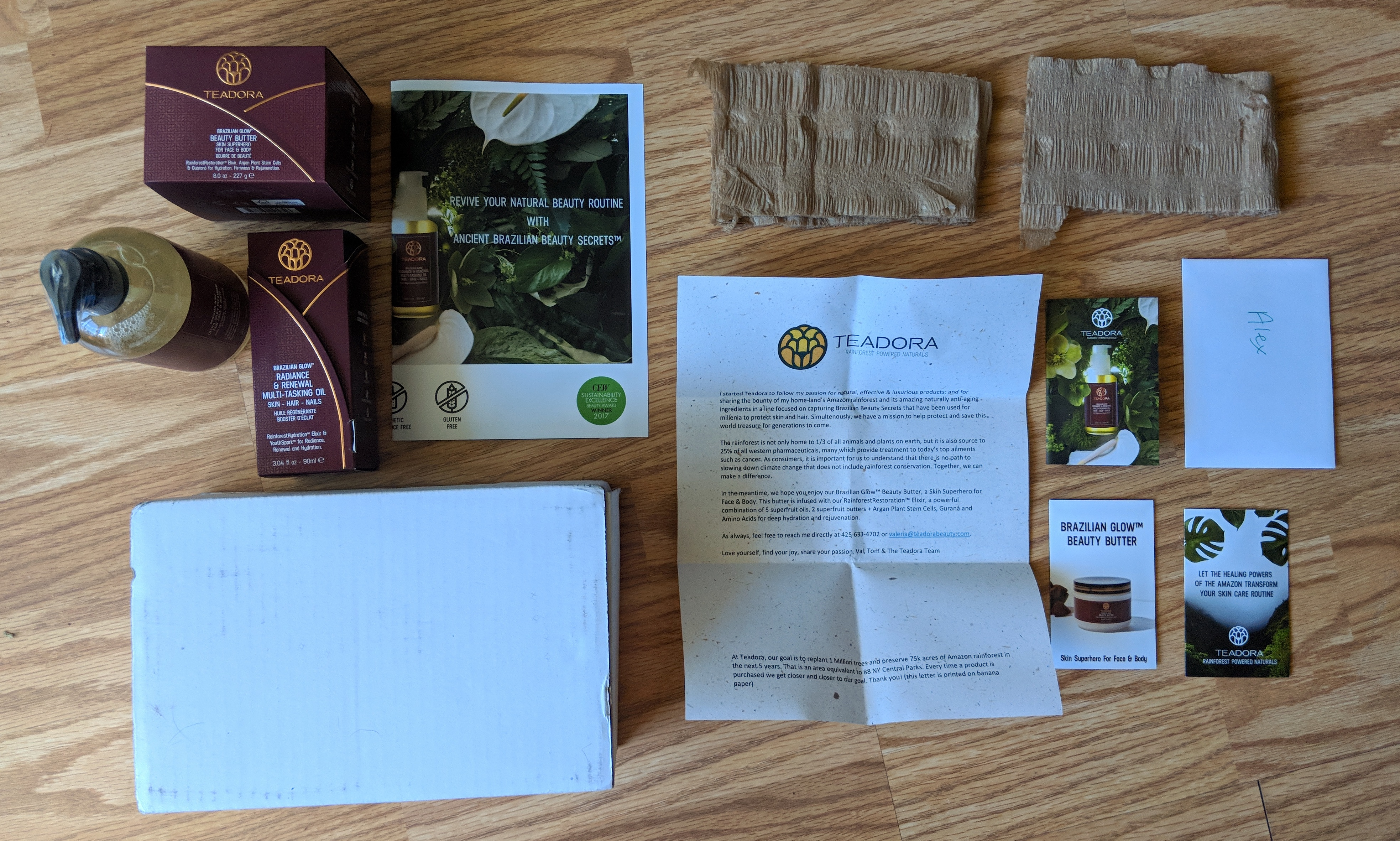 teadora beauty review paper and packaging