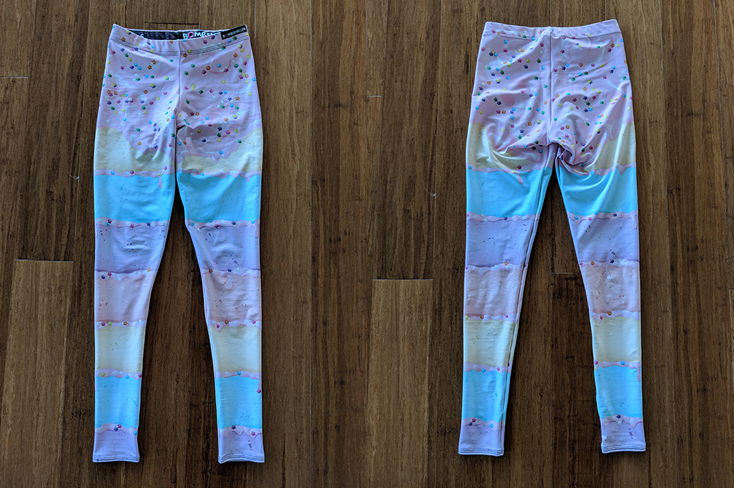 bombsheller review cakewalk leggings pastel front back