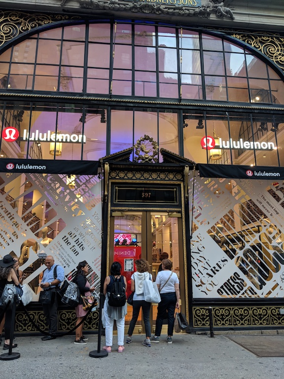 Storefront of the lululemon 20th Anniversary party in New York.