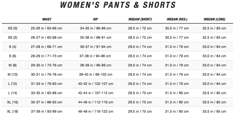 north face size chart womens pants bottoms