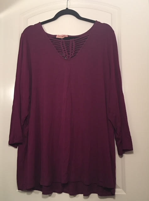Dia & Co East Adeline Chrissy 3/4 sleeve cut out knotted shirt
