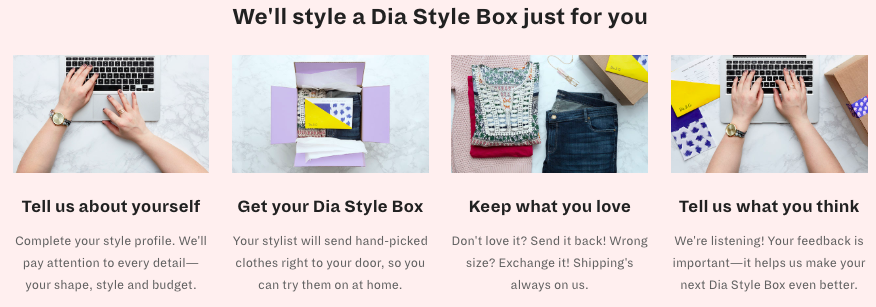 how to sign up for dia&co plus size fashion subscription service