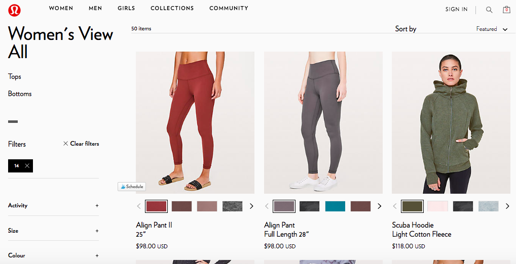 lululemon plus size products filtered out
