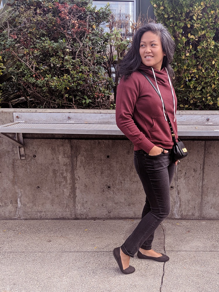 Wearing Athleta Sculptek Denim, NSF Enzo Sweater and Rothy's round toed flats.