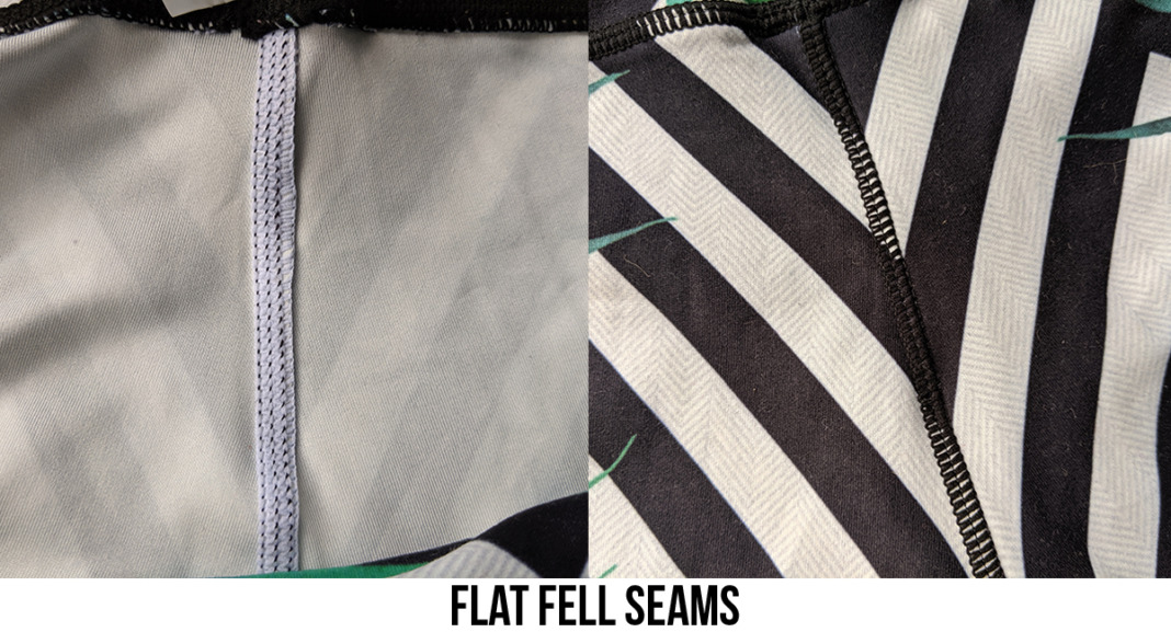 example of flat fell seam front and back leggings
