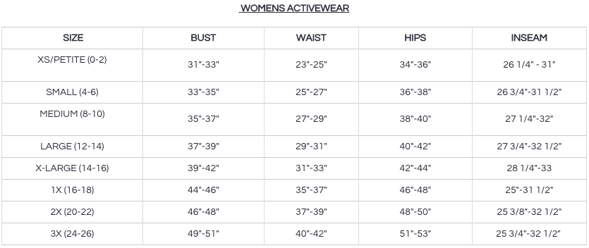 danskin size chart activewear reviews