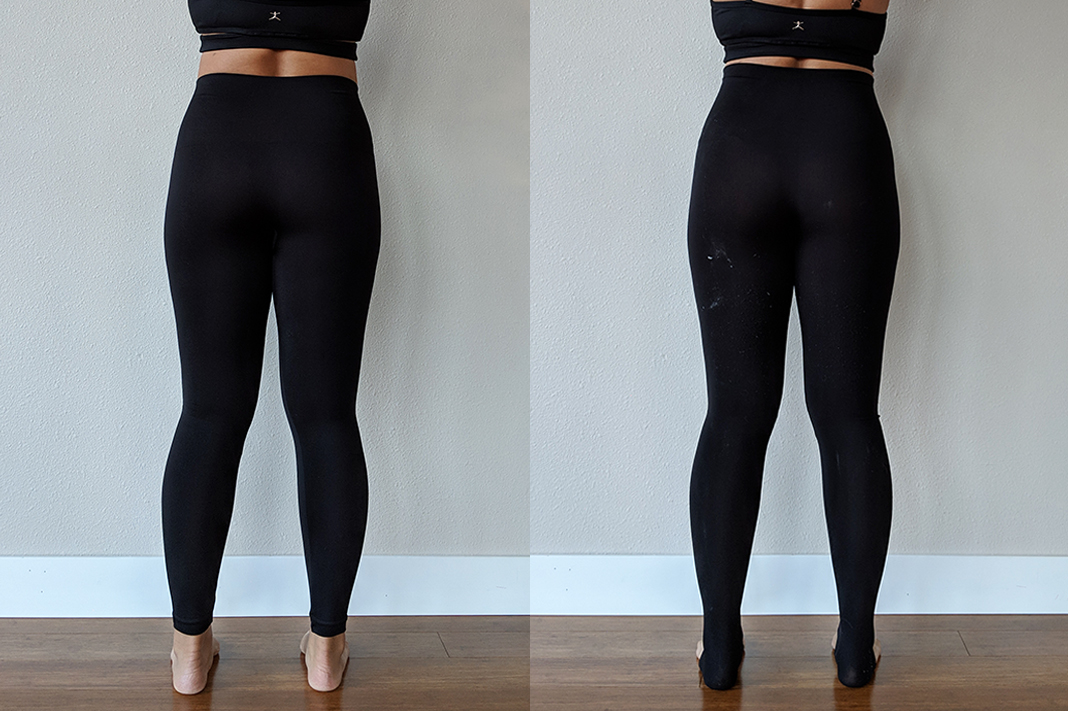 spanx versus assets seamless leggings back view schimiggy reviews